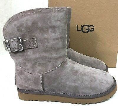 3370303160f NEW WOMENS 10 Stormy Grey Ugg Remora Buckle Suede Sheepskin Crystal Bling  Boots