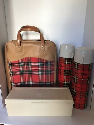 Vintage 1970'S Red Plaid Thermos Bottle Sandwich Box Set ~ King Seeley EXCELLENT