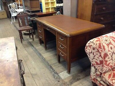 Vintage Leather Top Solicitors Desk