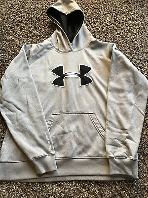 Boys UA UNDER ARMOUR Sz Youth Loose Sweatshirt Hoodie BIG LOGO Gray Black Large
