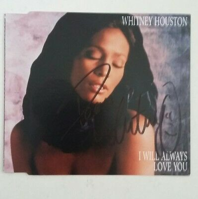 Whitney Houston: ''I Will Always Love You'' single cover HAND SIGNED