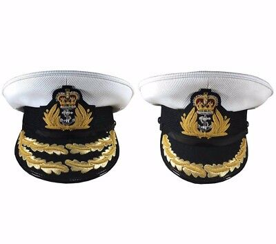 Royal Navy Admirals,Officer Captain Cap,RN Badge,1,2 Row Gold Peak Military Hat