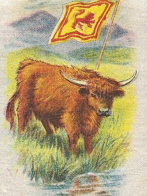 Vintage tobacco cigarette silk - use in crazy quilt - FLAG, animal CATTLE SCOT