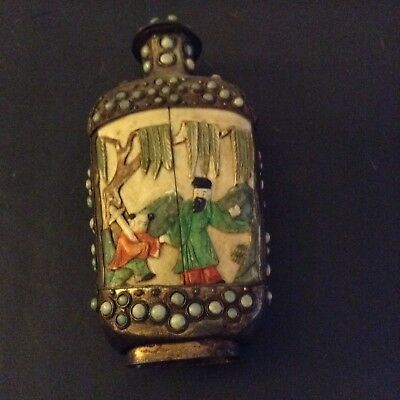 Excellent Antique Chinese Qing Dynasty Silver Turquoise Hand Carved Bottle