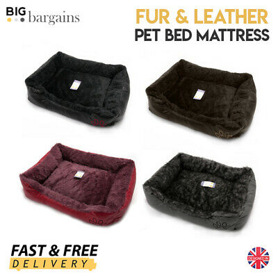 Fur & Leather Look Soft Pet Bed Mattress Basket Mat Cushion Cat Dog Kitten Puppy