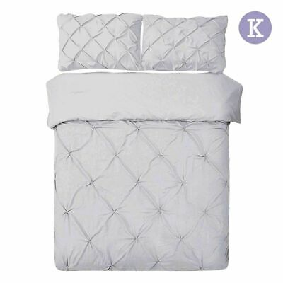 Giselle Bedding Pinch Pleat Diamond Bed Duvet Doona Quilt Cover Set King Grey