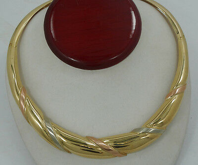 "Beautiful 14K Tri Colored Heavy Wraped 19"" Necklace A908"
