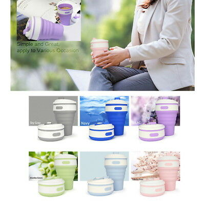 350ML Portable Silicone Collapsible Coffee Cup Folding Reusable Camping Mug AU