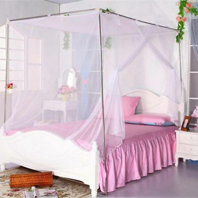 4 Corner Post Bed Canopy Mosquito Net Summer Full Queen King Size Bedding White