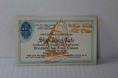 VINTAGE ADVERTISING INK BLOTTER 1930s HOLLYWOOD CA SHIP AHOY CAFE