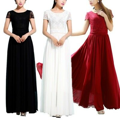 Women Lace Long Maxi Dress Evening Party Wear Cocktail Wedding Short Sleeve Gown