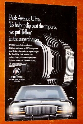 1994 Buick Park Avenue Ultra Supercharged Ad + Delta Airlines Ad On The Back
