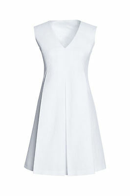 NWT LANDS END $165 Italy-Woven Sleeveless Pleat_Front Dress, White Sz 6_10