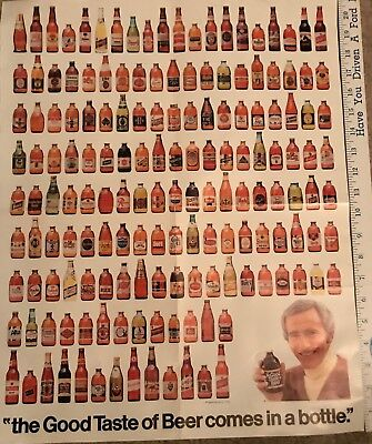 """Lg 20.75 x 16.5 in 1976 paper poster """"GOOD TASTE OF BEER COMES IN A BOTTLE""""Owens"""