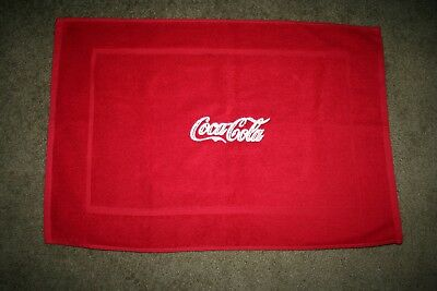 """Coca Cola Inspired"" Logo 1 Red Terry Bath Mat white embroidery"