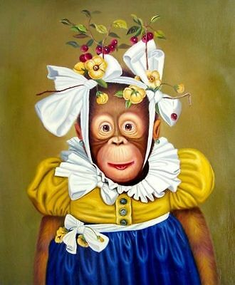 "Art Repro oil painting:""Monkey In canvas"" 16x24 Inch"