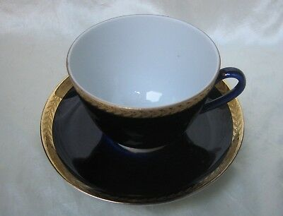 Cobalt Blue and Gold Encrusted Trim Cup and Saucer Set USSR Lomonosov Russia