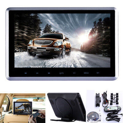 "10"" HD Digital LCD Screen Car Headrest Monitor DVD/USB/SD Player IR/FM Game US P"