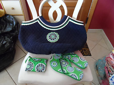 Vera Bradley navy terry cupcake green large beach tote, flip flops ,coin purse