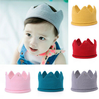 UK Baby Boy Girl Crown Hat Mesh Knitted Cap Headband Photography Accessories Jan