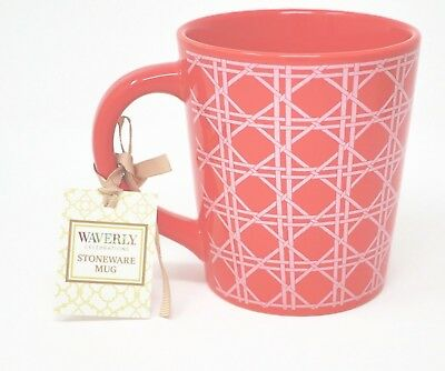 NWT Waverly Celebrations Stoneware Large 20 Oz Mug Item 985916 Red White Design