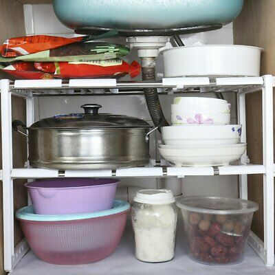 Adjustable 2-Tire Under Sink Storage Shelf Expendable Cabinet Kitchen Rack US BP