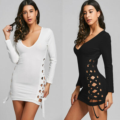 Woemn Fashion Sexy Lace Up Plunging Neckline Mini Bodycon Short MINI Shirt Dress