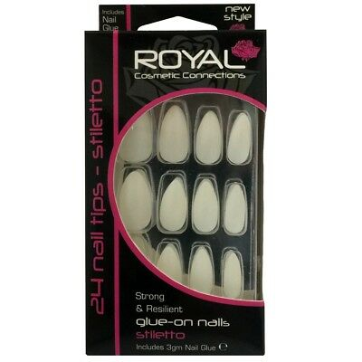 Kit de 24 faux ongles & 3g colle neutres / blancs - forme stiletto - False nails