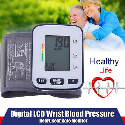 Smart Push Button Automatic Arm LCD Blood Pressure Cuff Monitor Wrist Tester BP