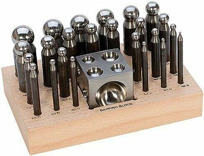 25 pc Doming Block and Punch Set made of Steel Dapping craft metal shaping tool