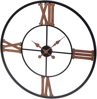 Libra Black And Copper Iron Wall Clock With Roman Numerals Large 80cm