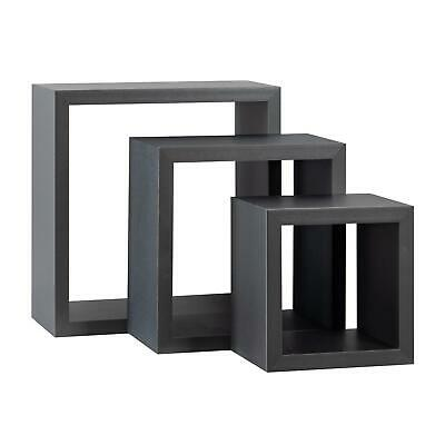 Square Display Shelves Floating Wooden Wall Storage - 3 Sizes - Grey - Set of 6