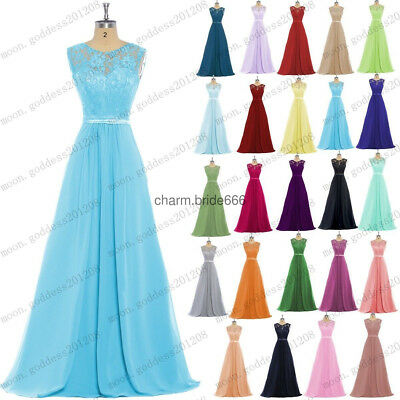 UK Lace Evening Formal Chiffon Party Ball Gowns Prom Bridesmaid Dress Size 6-24