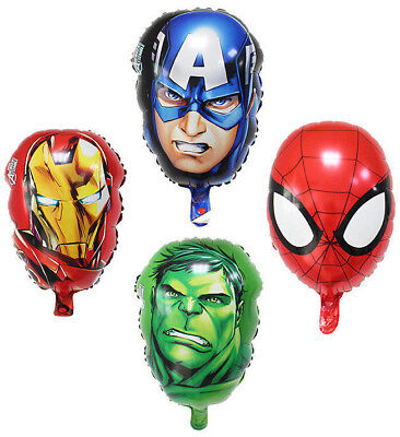 Superhero Avengers FACE MASKS Balloons IRONMAN, HULK, CAPTAIN AMERICA, SPIDERMAN