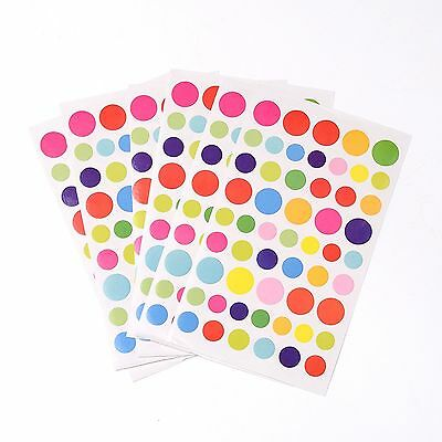 Lot De 160 Gommettes Etiquettes Stickers Autocollantes Rond Multicolore
