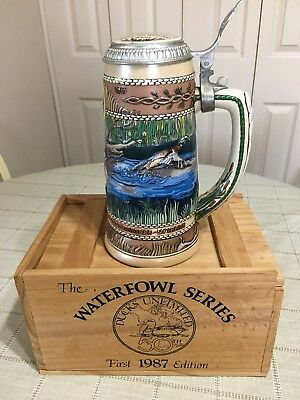 Ducks Unlimited Waterfowl Series Wood Duck  Stein 1st Edition 1987, 50 Yr in Box