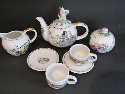 PAUL CARDEW~Alice in Wonderland~CHILDS Tea Party SET~Tea Pot/Sugar/Creamer/Cups