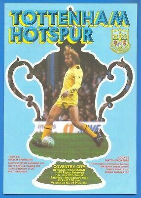 TOTTENHAM HOTSPUR v COVENTRY CITY.14th FEBRUARY 1981.FOOTBALL PROGRAMME