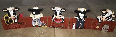 "5 Cow Front & Back Wooden Folk Art Plaque Country 36.5""Long 7.5""Tall Home Decor"