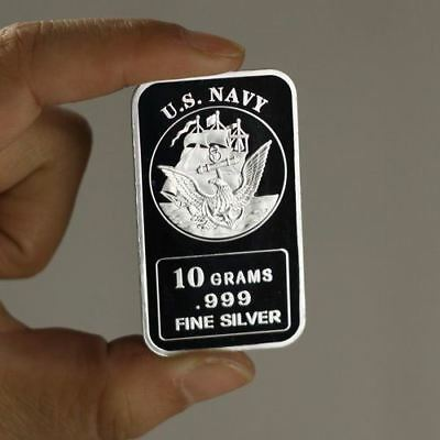 U.S. Navy, Sails of the Seas design, 10 grams .999 Fine Silver Bar, Military NEW