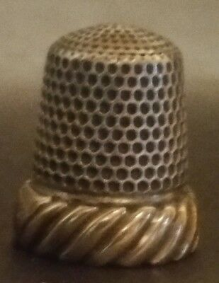 Fancy Simon Brothers Gold and Silver Thimble Size 8 Wide Gold Band