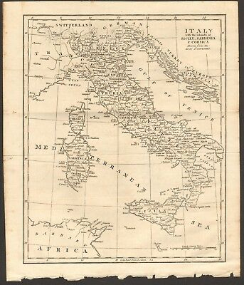 1807 Antique Map- Italy With The Islands Of Sicily, Sardinia & Corsica
