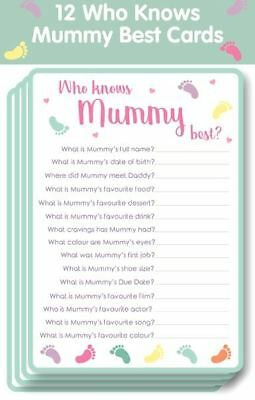 Baby Shower Game Who Knows Mummy Best Cards Party Games Fun Players Unisex Guest