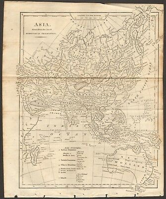 1807 Antique Map- Asia Drawn From The Latest Astronomical Observations, New Holl