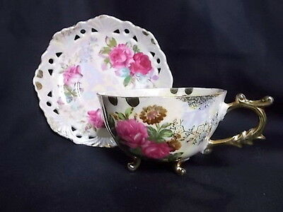 Vintage Fine China Japan Duo Cup and Saucer - Cup with Legs - Roses ; Lustre