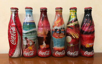 COCA COLA BOTTLES - set 6 BOTTIGLIE ARGENTINA SUMMER FULL PIENE