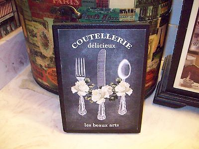 Shabby French kitchen wall decor sign block chalkboard look Paris chic vintage