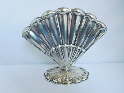 Lovely Antique Solid Silver Austria / Hungary Fan Or Clam Vase