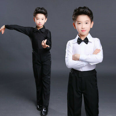 Boy Dance Shirt Ballroom Modern Salsa Samba Sleek Latin Tango Clothing Top White