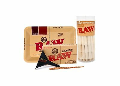RAW Organic 1 1/4 Pre-Rolled Cones With Filter Tips - Bundle (75 Pack with Mi...